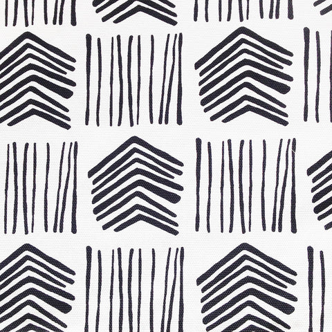 A black and white fabric with a charming hand drawn line pattern.  Suitable for drapery, upholstery, roman blinds, cushions, pillows and other home decor accessories.