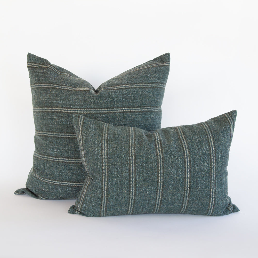 Yarmouth spruce green stripe pillows from Tonic Living