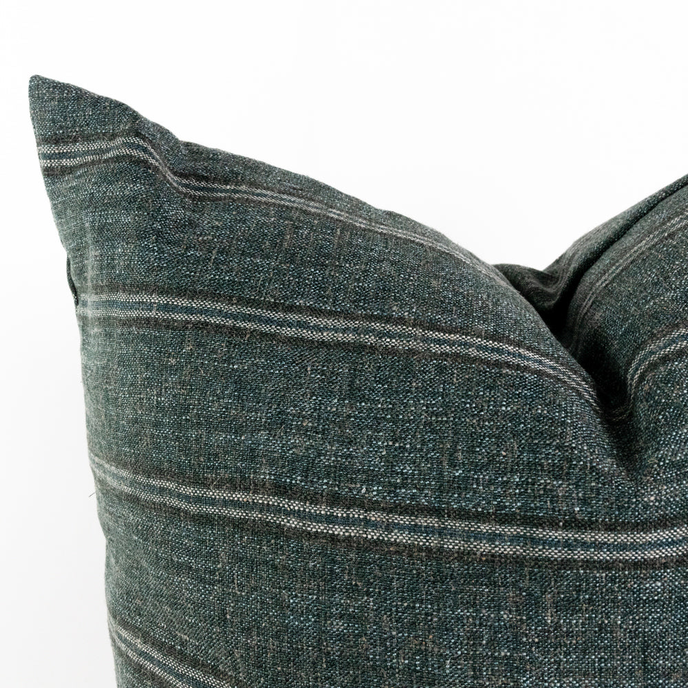Yarmouth spruce green stripe pillow from Tonic Living