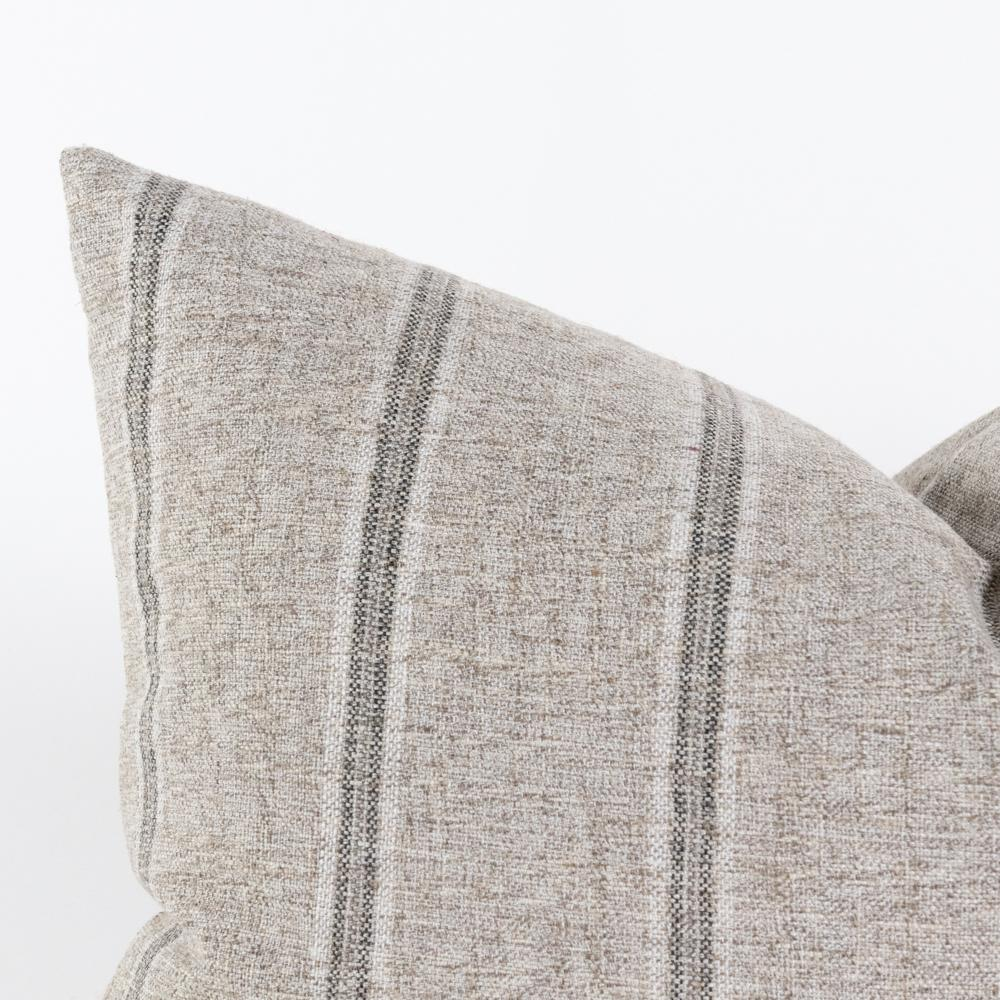 Yarmouth Zinc gray stripe lumbar pillow from Tonic Living