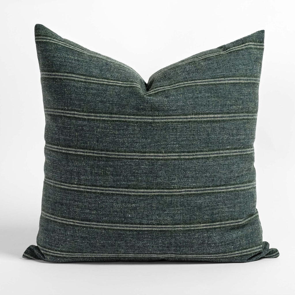 Yarmouth Stripe spruce green pillow with horizontal stripes from Tonic Living