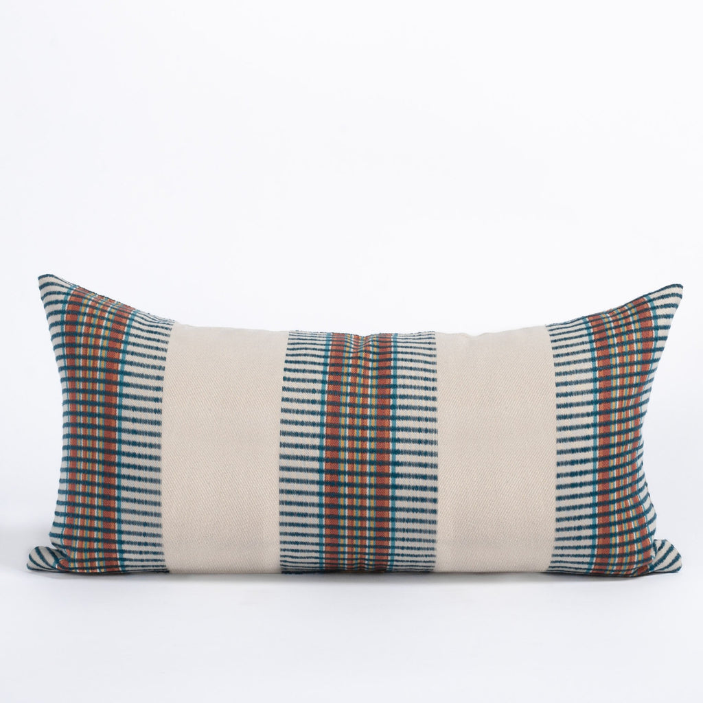 Zanzibar Regatta 12x24 lumbar pillow, a bold navy and rust tribal stripe on a light taupe background pillow