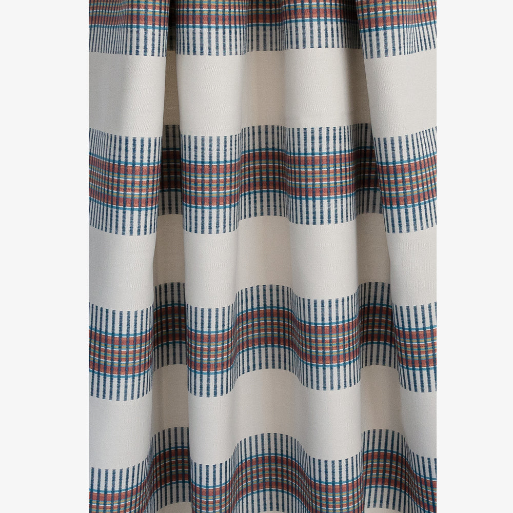 Zanzibar Regatta, a bold navy and rust horizontal global stripe on a light taupe fabric