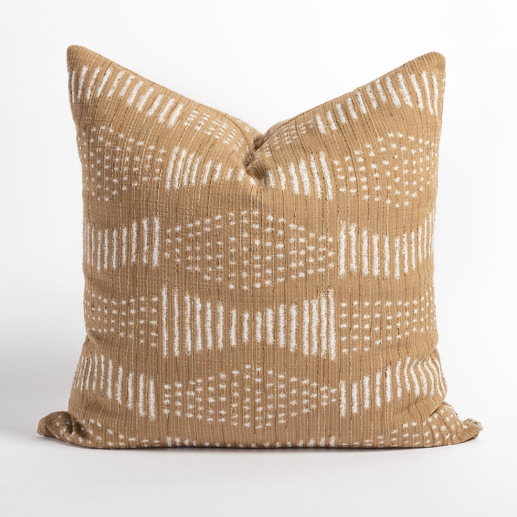 Zipporah Cork Pillow, a cork colored throw pillow with cream dot and dash mudcloth inspired pattern