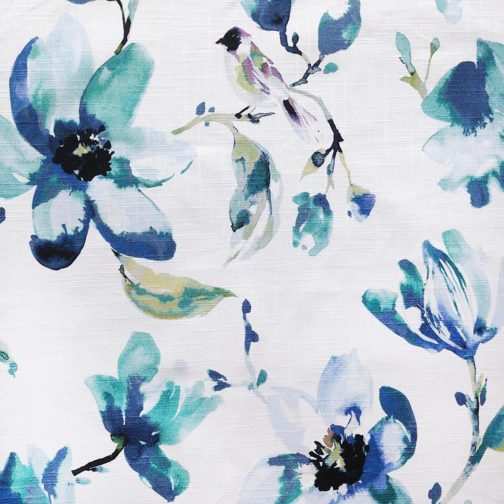 A beautiful watery floral fabric in a fresh blend of indigo, turquoise, green and black on a white background. Suitable for drapery, upholstery, roman blinds, cushions, pillows and other home decor accessories.