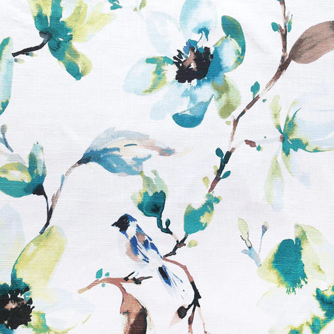 A beautiful watery floral fabric in a fresh blend of green, turquoise and brown on a white background. Suitable for drapery, upholstery, roman blinds, cushions, pillows and other home decor accessories.