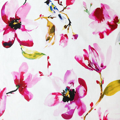 A beautiful watery floral fabric in a fresh blend of fuchsia, blush pink, green, royal blue and yellow on a white background. Suitable for drapery, upholstery, roman blinds, cushions, pillows and other home decor accessories.