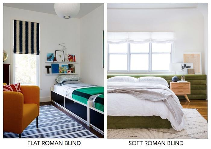 flat vs. soft roman blinds