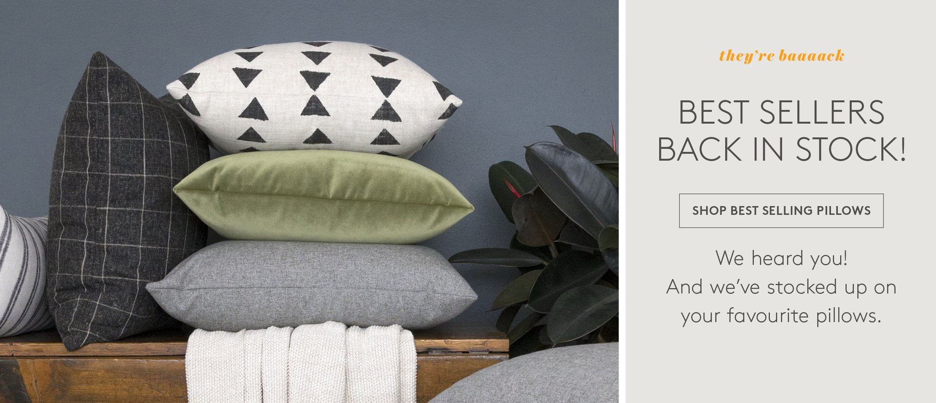 Tonic Living Pillows on sofa with Ottomans