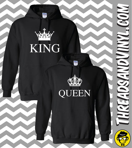 King and Queen Matching Couple Hoodies (Set)