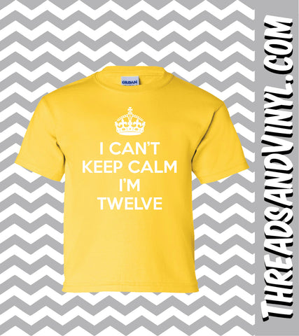 I Can't Keep Calm I'm TWELVE Great Birthday T-Shirt for children 12th Birthday