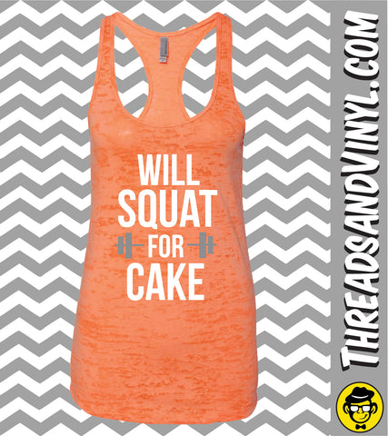 Will Squat For CAKE Womens Burnout tank Top