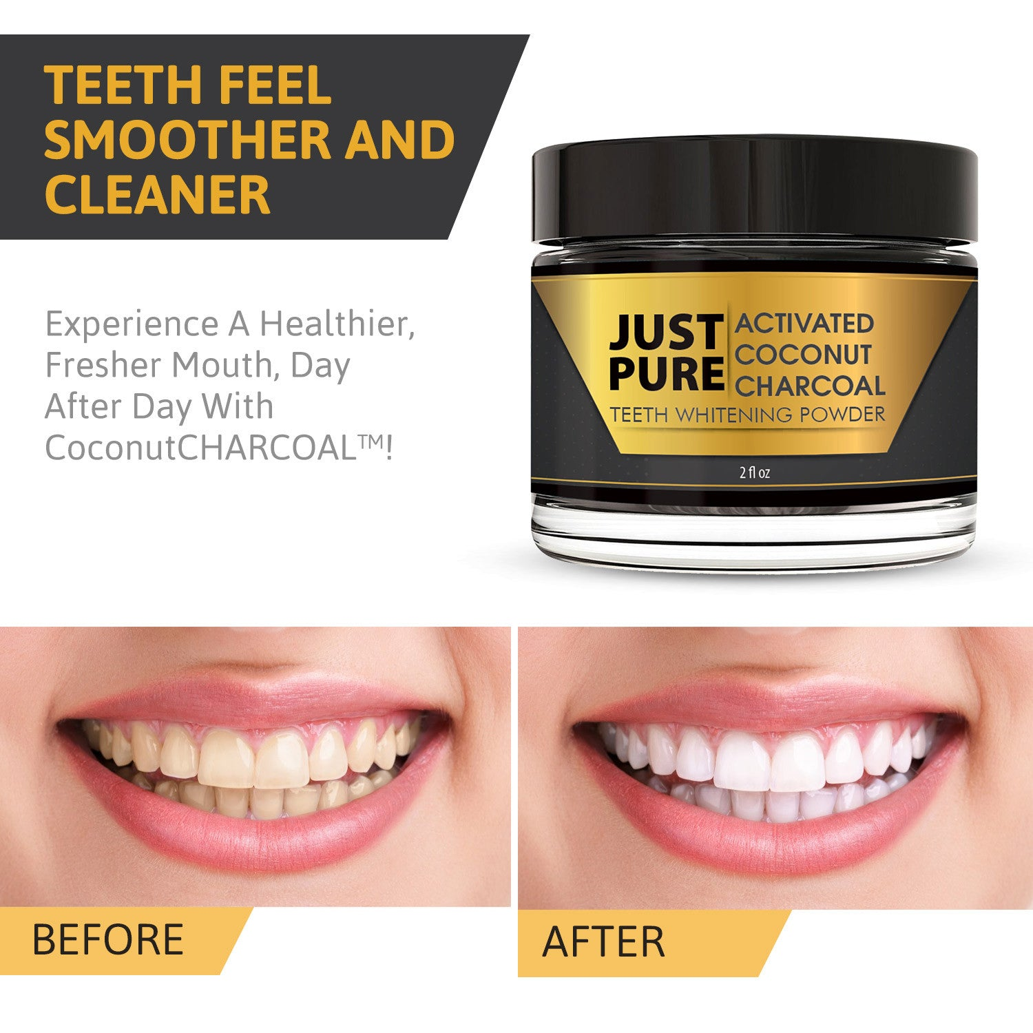 just pure activated charcoal teeth whitener just pure hut. Black Bedroom Furniture Sets. Home Design Ideas