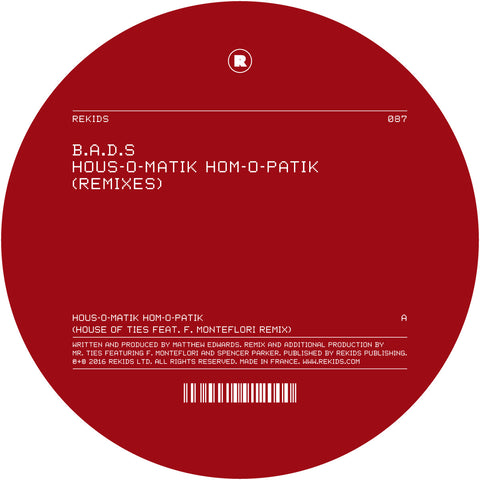 B.A.D.S - Hom-O-Patik Hous-O-Matik Remixes EP (Digital)