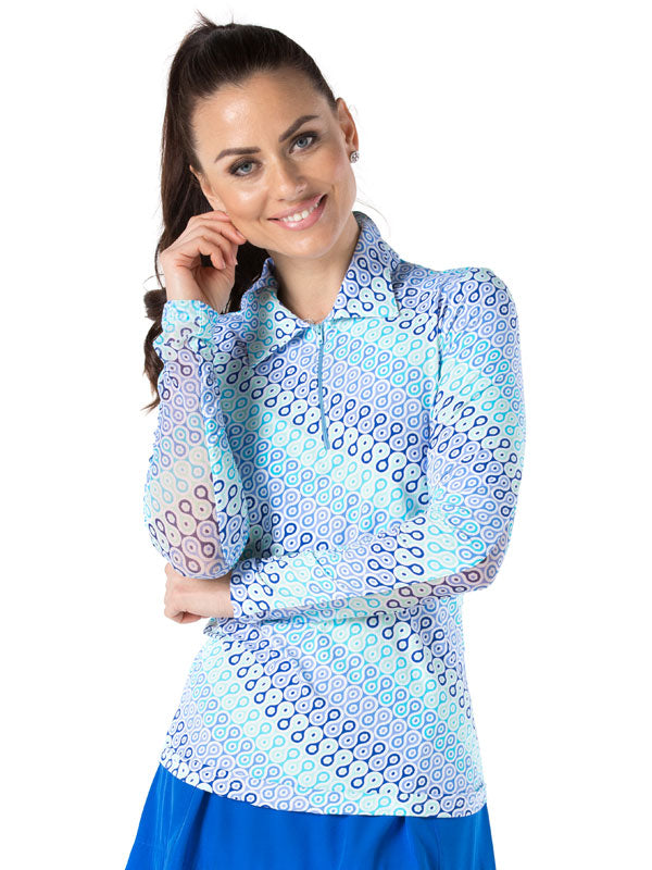 women's summer clothing, Ibkul Long Sleeve Polo-Ribbon Candy Blue, , From the Red Tees, , , ladies golf and tennis fashion, golf accessories - From the Red Tees.