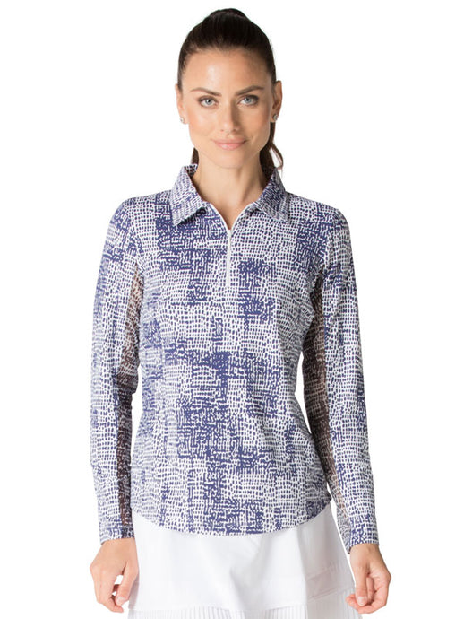 women's summer clothing, Ibkul Diane Blue and White Long Sleeve Polo Sunshirt, Long Sleeve, Ibkul, , , ladies golf and tennis fashion, golf accessories - From the Red Tees.