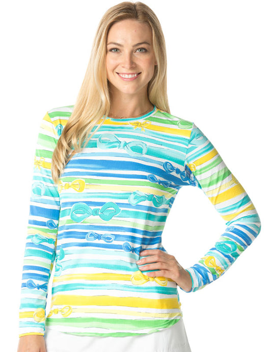 women's summer clothing, Ibkul Kate Print Crew Neck-Peri/Yellow, Long Sleeve, IBKUL, Small, Peri Yellow, ladies golf and tennis fashion, golf accessories - From the Red Tees.