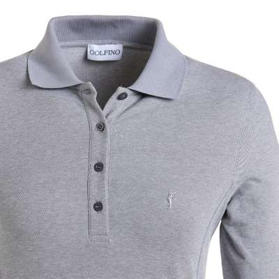 women's summer clothing, Golfino Long Sleeve Mia Polo-Mid Grey, Long Sleeve Shirt, Golfino, , , ladies golf and tennis fashion, golf accessories - From the Red Tees.