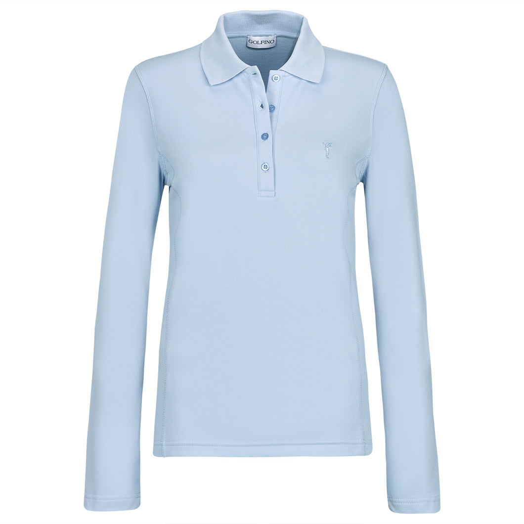 women's summer clothing, Golfino Long Sleeve Mia Polo-Chambray, Long Sleeve Shirt, Golfino, , , ladies golf and tennis fashion, golf accessories - From the Red Tees.