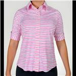 women's summer clothing, Belyn Key Versailles Pink Stripe Shirt, Short Sleeve Shirt, Belyn Key, , , ladies golf and tennis fashion, golf accessories - From the Red Tees.