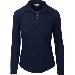 women's summer clothing, Greg Norman Lurex 1/4 Zip Mock-Navy, Long Sleeve Shirt, Greg Norman, , , ladies golf and tennis fashion, golf accessories - From the Red Tees.