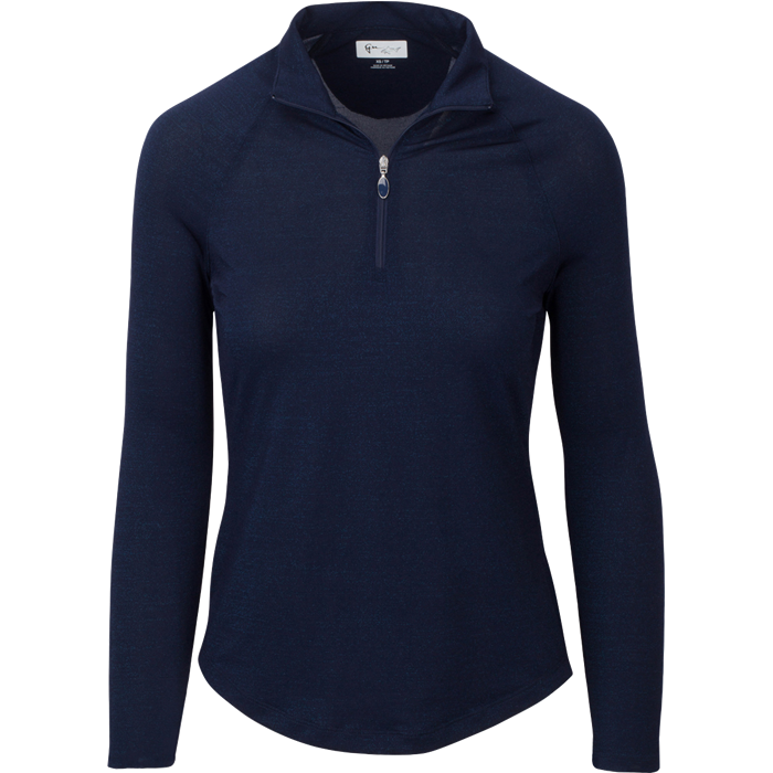 women's summer clothing, Greg Norman Lurex 1/4 Zip Mock-Navy, Long Sleeve Shirt, Greg Norman, X-Small, , ladies golf and tennis fashion, golf accessories - From the Red Tees.
