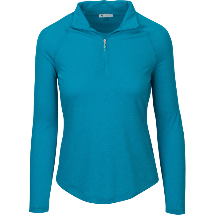 women's summer clothing, Greg Norman Lurex 1/4 Zip-Peacock, Long Sleeve Shirt, Greg Norman, , , ladies golf and tennis fashion, golf accessories - From the Red Tees.
