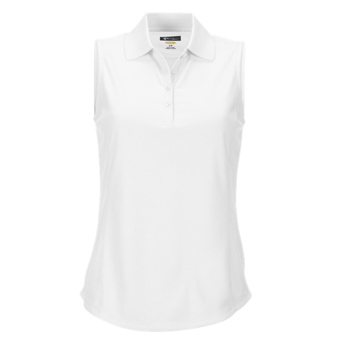 women's summer clothing, Greg Norman Sleeveless Polo-White, Sleeveless Shirt, Greg Norman, , , ladies golf and tennis fashion, golf accessories - From the Red Tees.