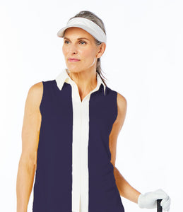 women's summer clothing, Belyn Key Sleeveless Shirt-Navy, Sleeveless Shirt, Belyn Key, , , ladies golf and tennis fashion, golf accessories - From the Red Tees.