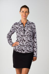 women's summer clothing, SanSoleil Mock-Last Call (Black), Long Sleeve Shirt, SanSoleil, , , ladies golf and tennis fashion, golf accessories - From the Red Tees.