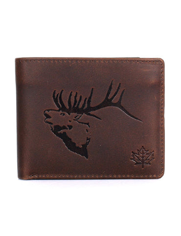 Karla Hanson CANADA WILD Men's Hunter Leather Wallet - Elk Stag | MaxStrata