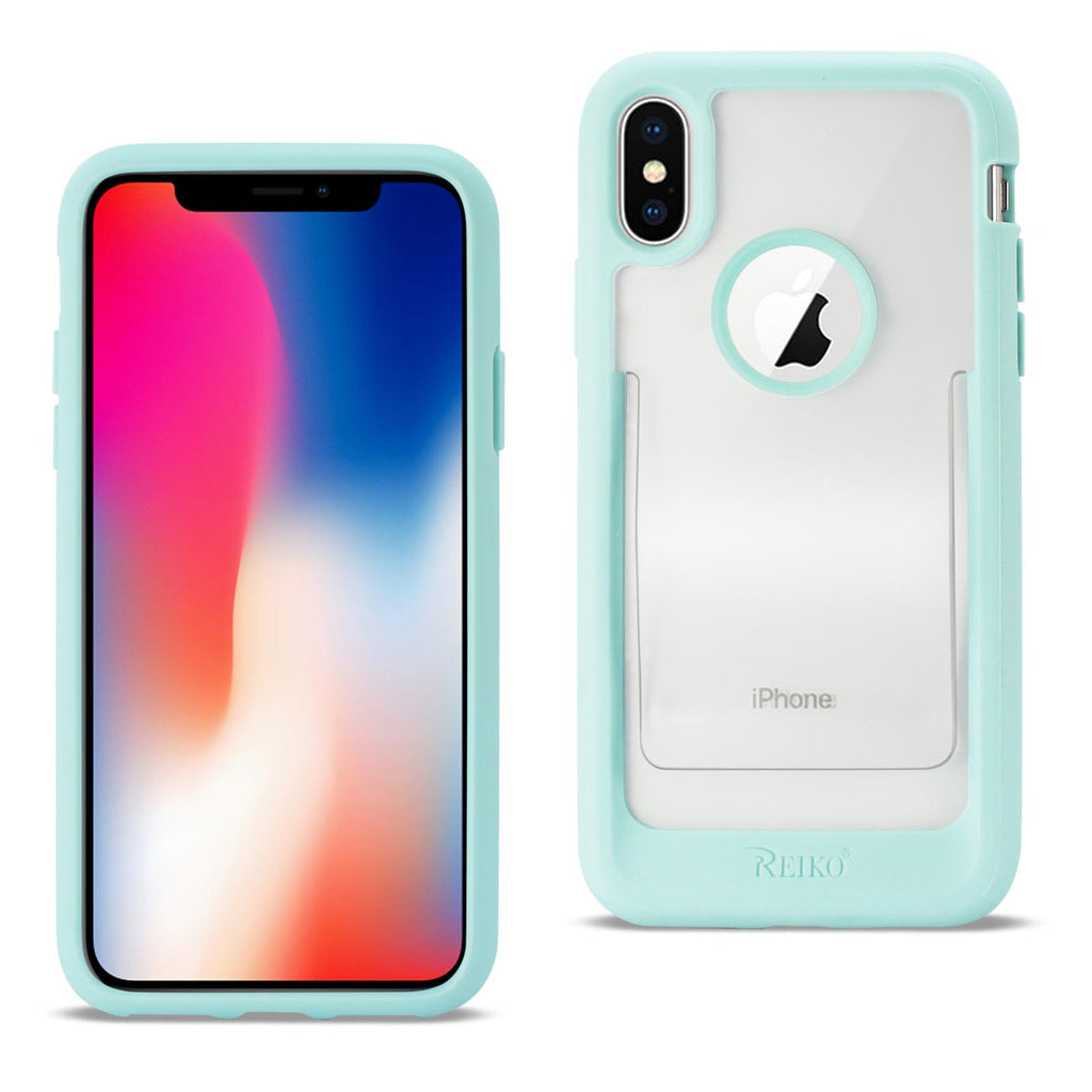 Reiko iPhone X/iPhone XS Belt Clip Polymer Case In Clear Mint Green | MaxStrata