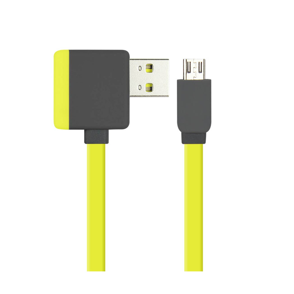 Reiko Micro USB Piggyback Flat Liberator USB Cable 3.2Ft In Yellow | MaxStrata