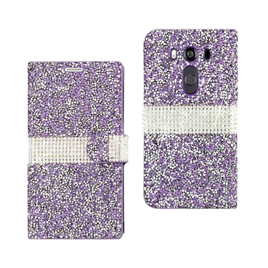Reiko LG V10 Diamond Rhinestone Wallet Case In Purple | MaxStrata