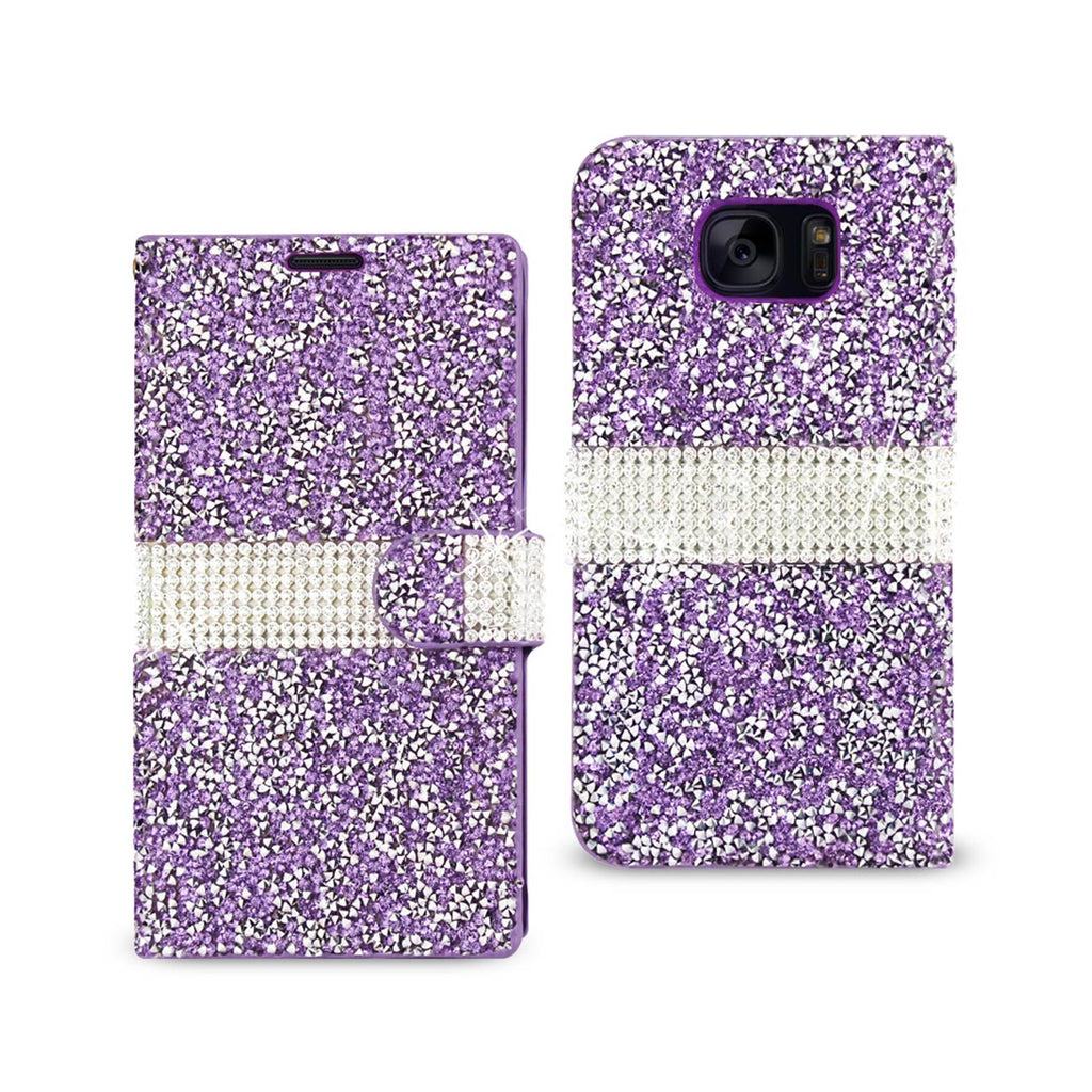 Reiko Samsung Galaxy S7 Edge Diamond Rhinestone Wallet Case In Purple | MaxStrata
