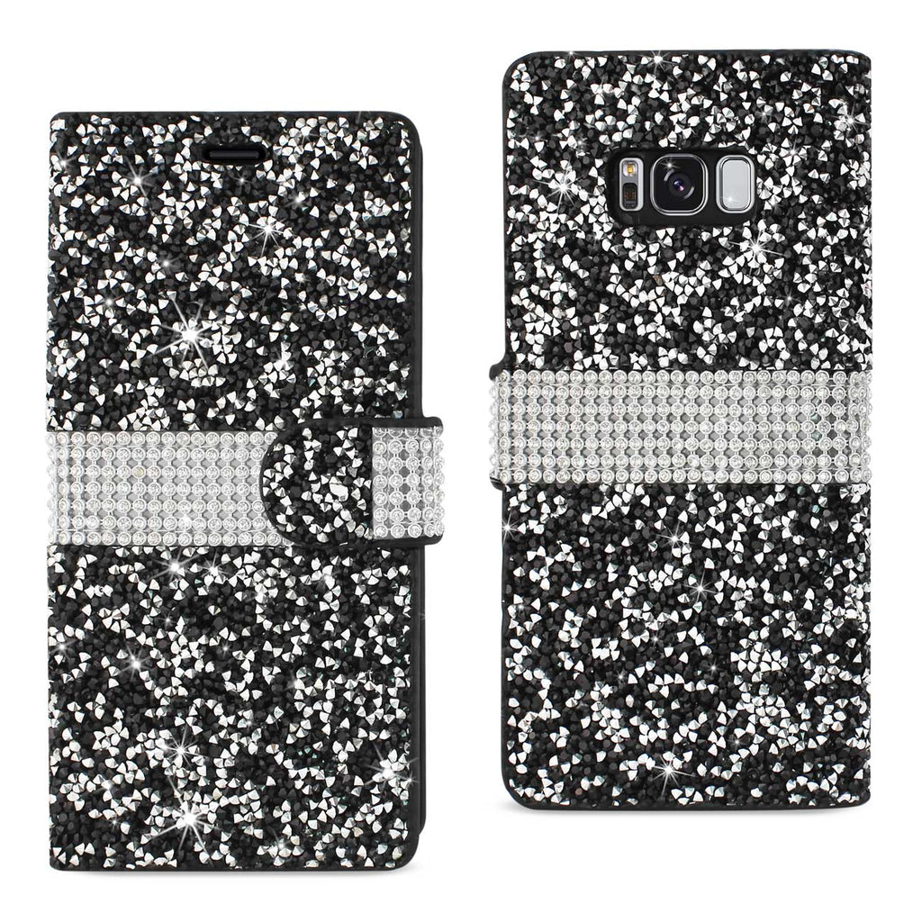 Reiko Samsung Galaxy S8 Edge/ S8 Plus Diamond Rhinestone Wallet Case In Black | MaxStrata
