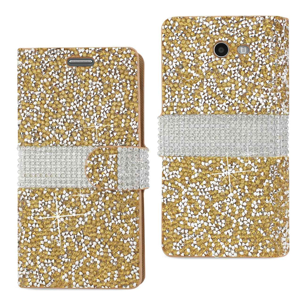Reiko Samsung Galaxy J3 Emerge Diamond Rhinestone Wallet Case In Gold | MaxStrata