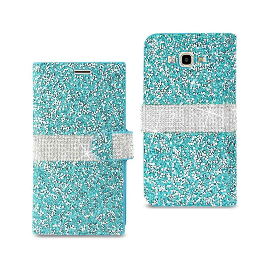 Reiko Samsung Galaxy J7 Diamond Rhinestone Wallet Case In Blue | MaxStrata