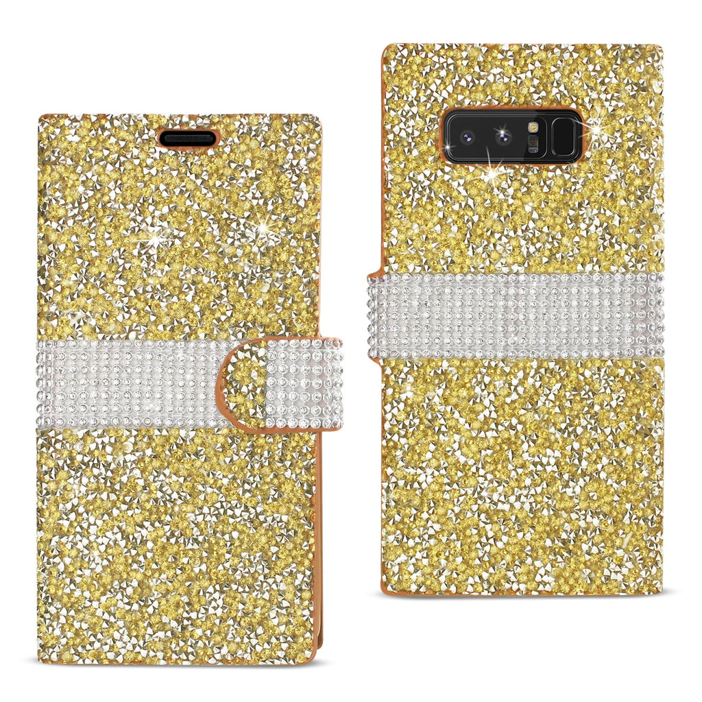 Reiko Samsung Galaxy Note 8 Diamond Rhinestone Wallet Case In Gold | MaxStrata