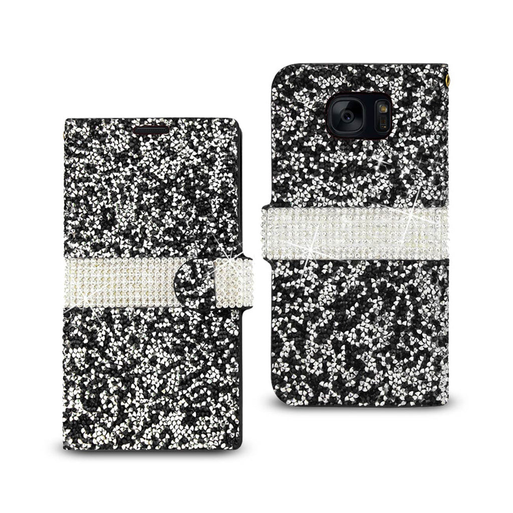 Reiko Samsung Galaxy S7 Diamond Rhinestone Wallet Case In Black | MaxStrata