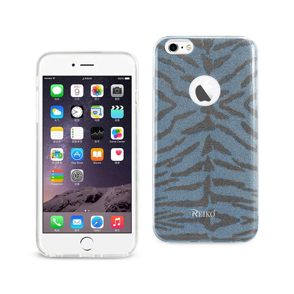 Reiko iPhone 6 Plus/ 6S Plus Shine Glitter Shimmer Tiger Stripe Hybrid Case In Blue | MaxStrata