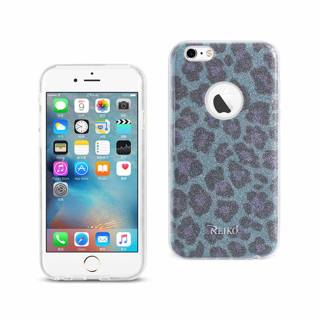 Reiko iPhone 6/ 6S Shine Glitter Shimmer Leopard Hybrid Case In Blue | MaxStrata