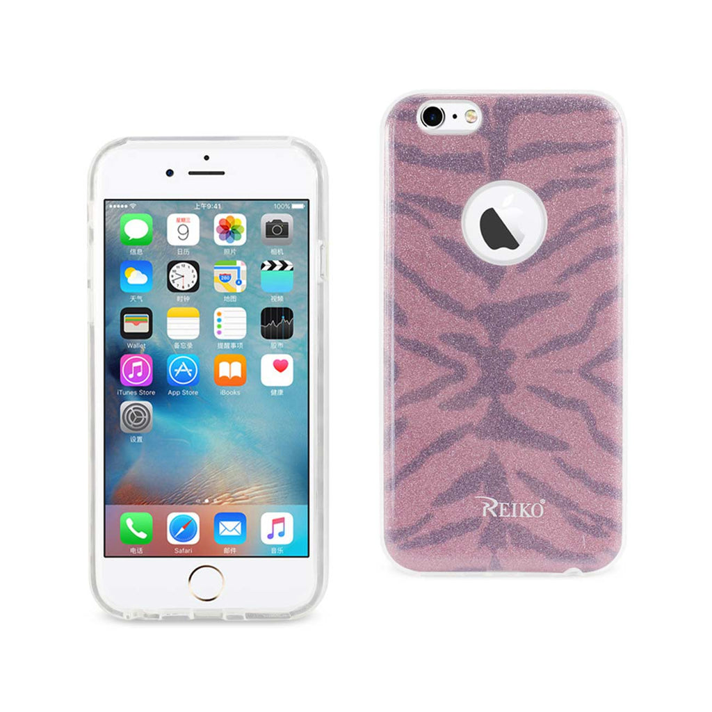 Reiko iPhone 6/ 6S Shine Glitter Shimmer Tiger Stripe Hybrid Case In Hot Pink | MaxStrata