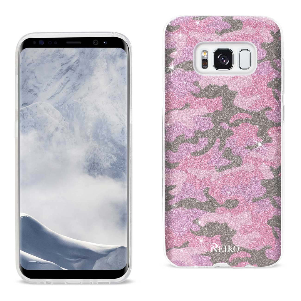 Reiko Samsung Galaxy S8 Edge/ S8 Plus Shine Glitter Shimmer Camouflage Hybrid Case In Hot Pink | MaxStrata