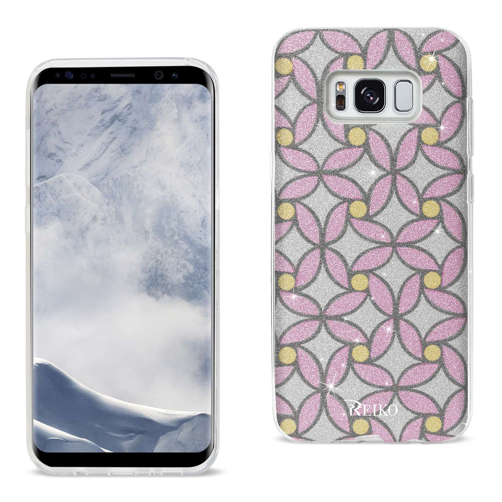Reiko Samsung Galaxy S8 Edge/ S8 Plus Shine Glitter Shimmer Flower Hybrid Case In Flower Pink | MaxStrata