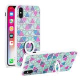 Reiko iPhone X/iPhone XS Triangle Pattern TPU Case With Rotating Ring Stand Holder | MaxStrata
