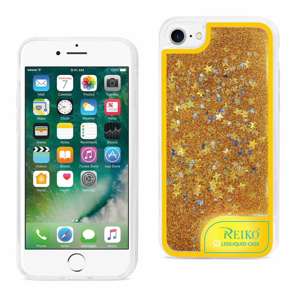 Reiko iPhone 8 Plus/ 7 Plus Case With Flowing Glitter And LED Effect In Yellow | MaxStrata