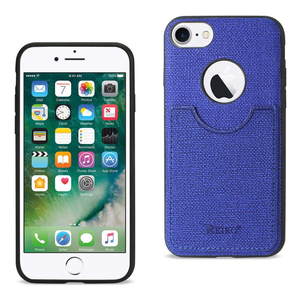 Reiko iPhone 8/ 7 Anti-Slip Texture Protector Cover With Card Slot In Navy | MaxStrata