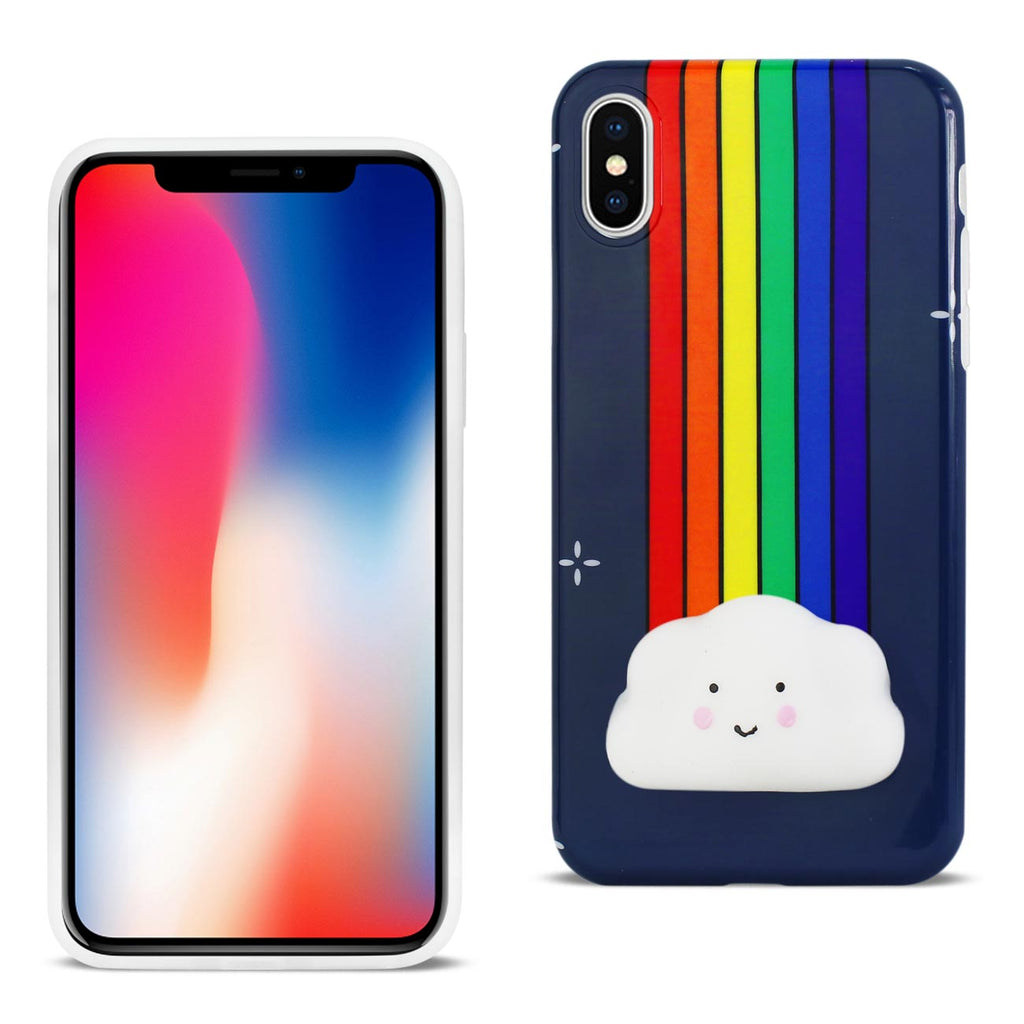 Reiko iPhone X/iPhone XS TPU Design Case With  3D Soft Silicone Poke Squishy Rainbow Cloud | MaxStrata