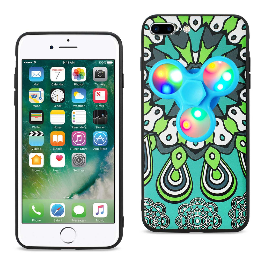 Reiko Design The Inspiration Of Peacock iPhone 8 Plus/ 7 Plus Case With LED Fidget Spinner Clip On In Turquoise | MaxStrata